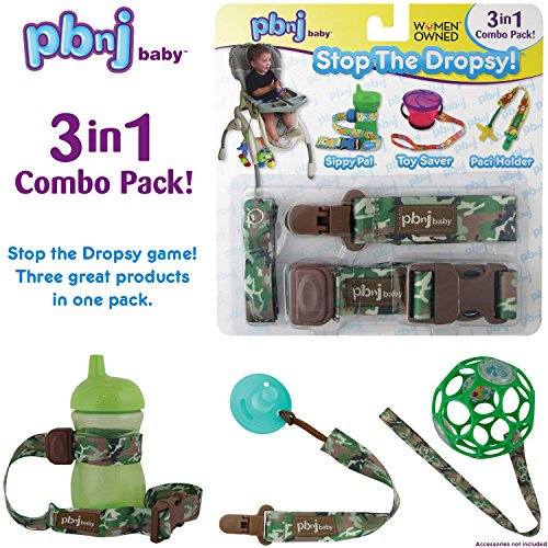 Stop the Dropsy 3-in-1 Pack for sippy cup, pacifier, toys (Green -