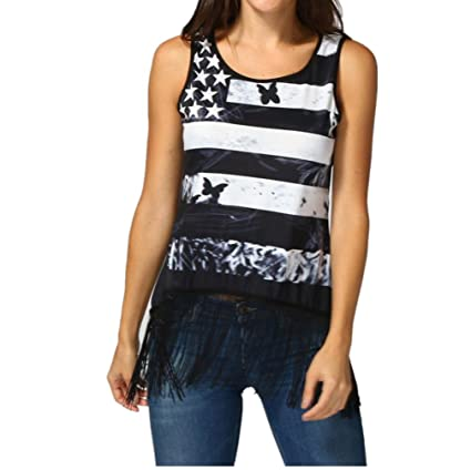c6397f94ce589e Amazon.com  Casual American Flag Tank Top for Women Juniors Racerback Loose  Strappy Sleeveless Tops Basic T-Shirt Blouse Clearance Sale (XL