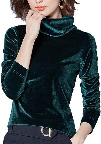Camisa De Señoras Cuello Alto Blusa De Manga Larga Camisa Sencillos De Manga Larga De Terciopelo Elegante Camisa De Túnica Top De Otoño De Invierno Estilo: Amazon.es: Ropa y accesorios