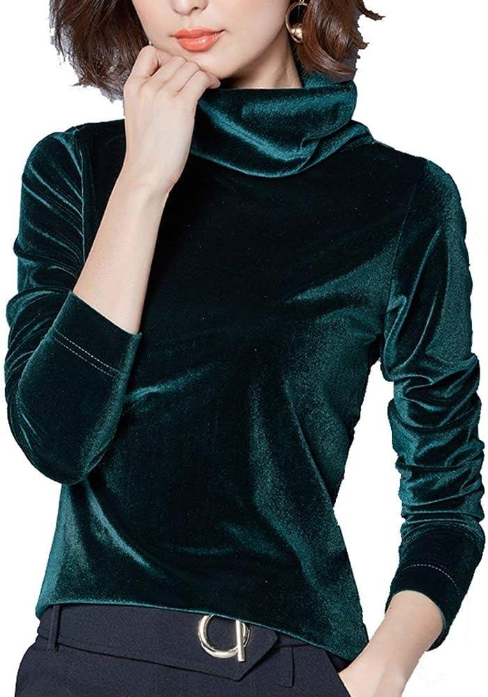 Camisa De Señoras Cuello Alto Blusa De Manga De Camisa Larga Manga Larga Especial Estilo De Terciopelo Elegante Camisa De Túnica Top De Otoño De Invierno (Color : Darkgreen, Size : M):