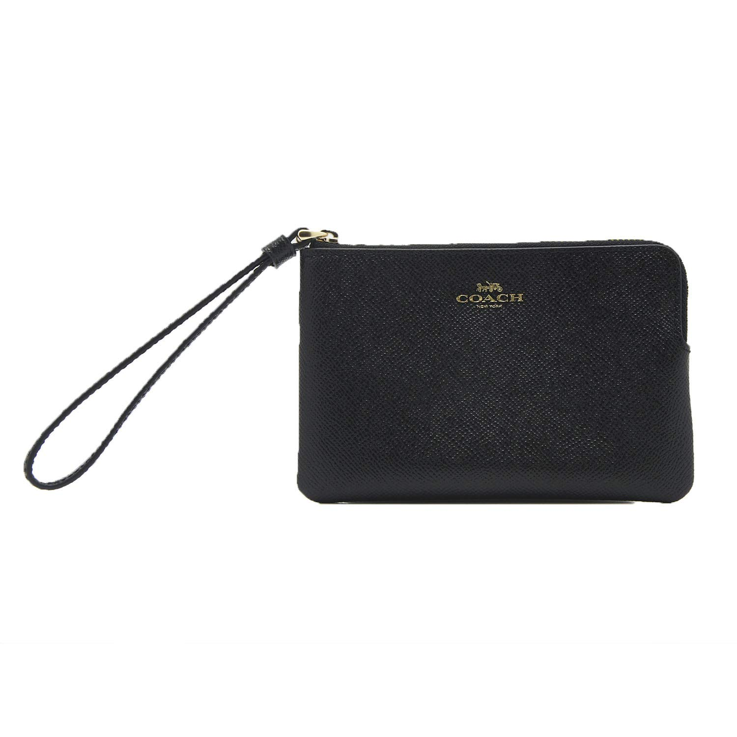 Coach Crossgrain Leather Corner Zip Wristlet, Black by Coach