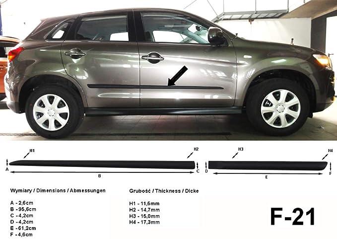 Spangenberg Listones de protección Lateral, Color Negro, para Mitsubishi ASX SUV Combi a Partir de Facelift año de construcción 10.2012- F21 (370002103): ...