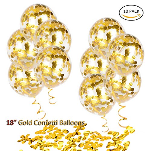 HoveBeaty Gold Confetti Balloons, Round 18'' Party Balloons Latex Transparent Golden Balloons for Wedding, Proposal, Birthday Party Decorations (10 Pack)