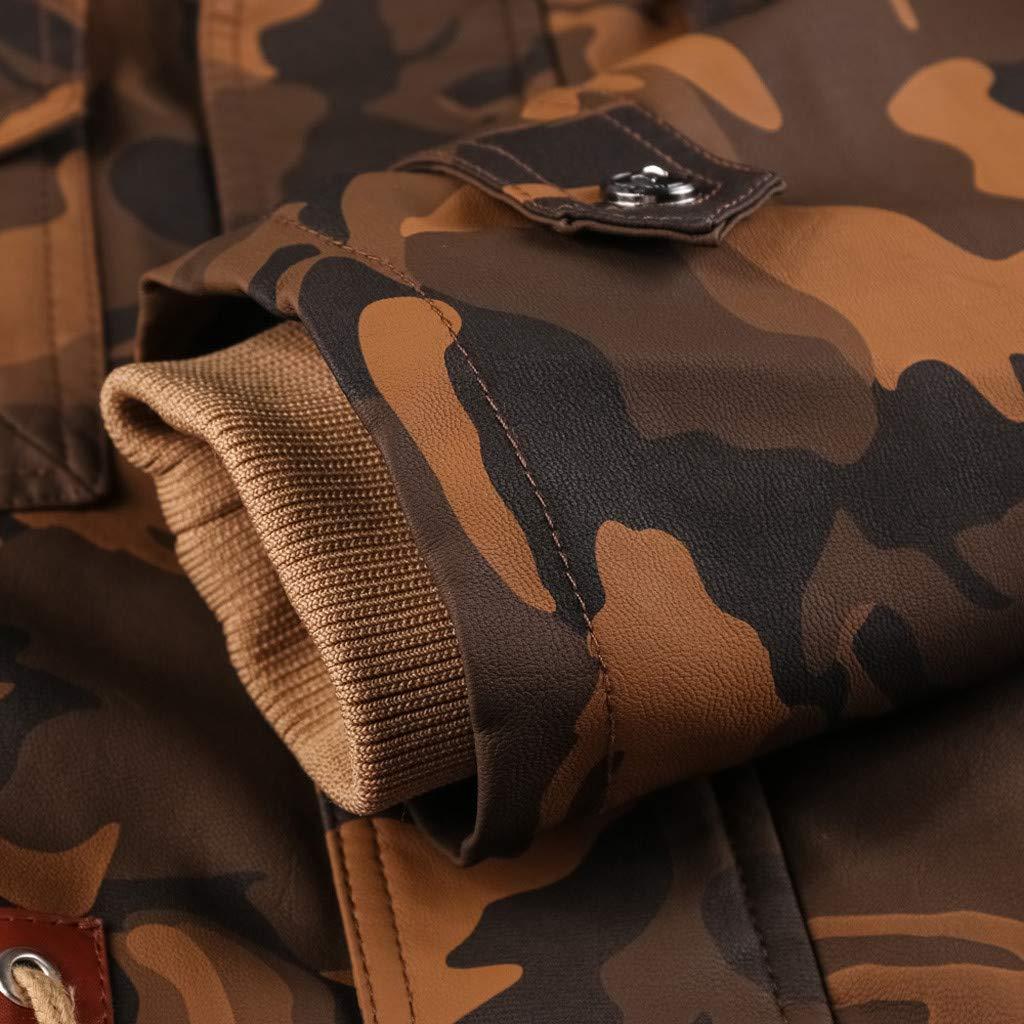 Mens Camouflage Jackets Tops for Men Punk Pockets Zipper Coats Waist Drawstring Hoodies Vintage Furry Inside Outwear