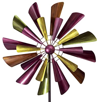 """Bits and Pieces - Autumn Palette Wind Spinner - 28"""" in Diameter Two Level Kinetic Windspinner - Unique Outdoor Lawn and Garden Décor : Garden & Outdoor"""