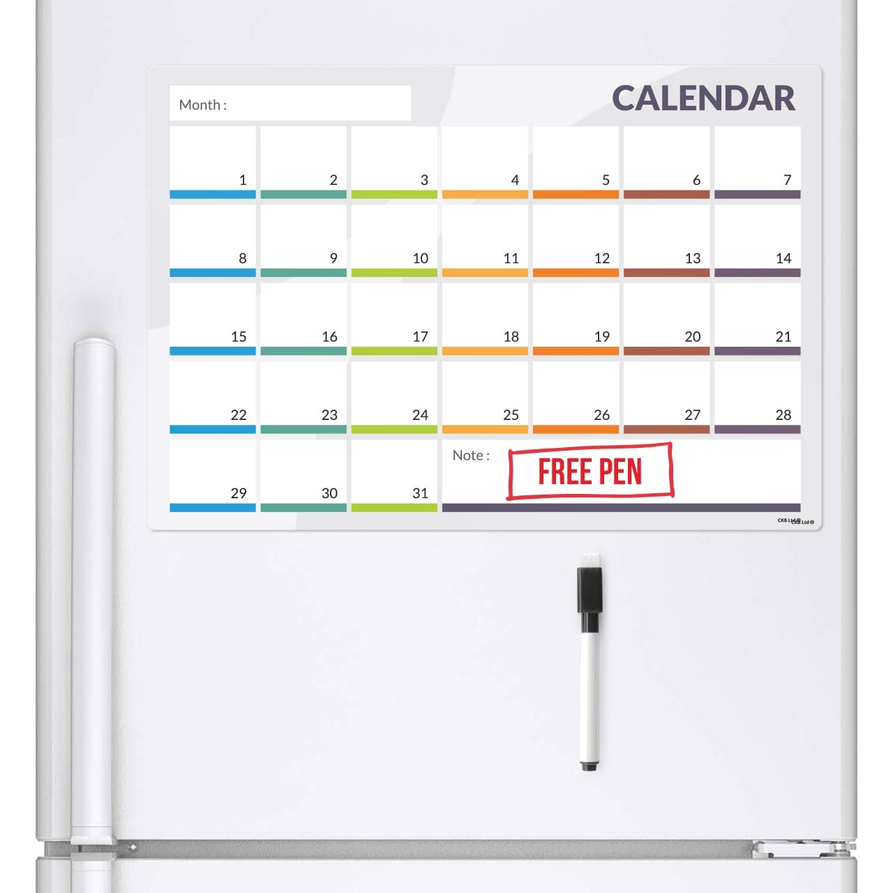 CKB Ltd Calendar 31 Day Refrigerator Monthly Planner Magnetic Fridge Board with Marker White Board & Pen - Drywipe Magnet Whiteboard Kitchen Office Memo Notice Menu Large Daily Grocery & to Do List