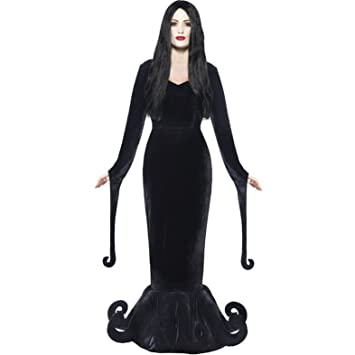 ladies morticia addams family gothic halloween costume women 8 10
