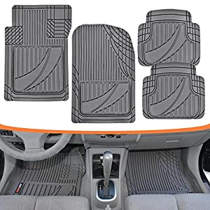 FlexTough Advanced Performance Mats - 4pc HD Rubber Floor Mats for Car SUV Auto All Weather Plus (Gray)