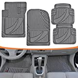 weather tech custom car mats - FlexTough Advanced Performance Mats - 4pc HD Rubber Floor Mats for Car SUV Auto All Weather Plus (Gray)