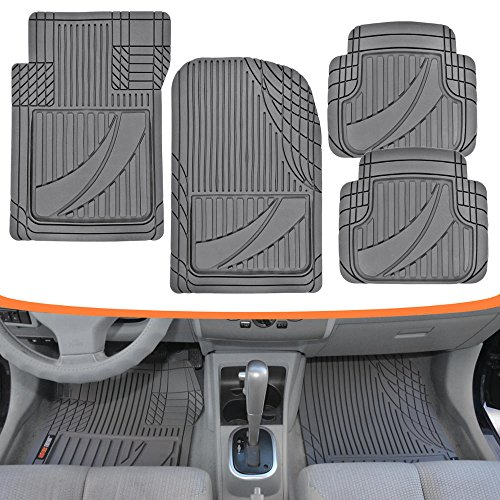 Motor Trend FlexTough Advanced Performance Mats - 4pc HD Rubber Floor Mats for Car SUV Auto All Weather Plus (Gray) (MT-794-GR) ()