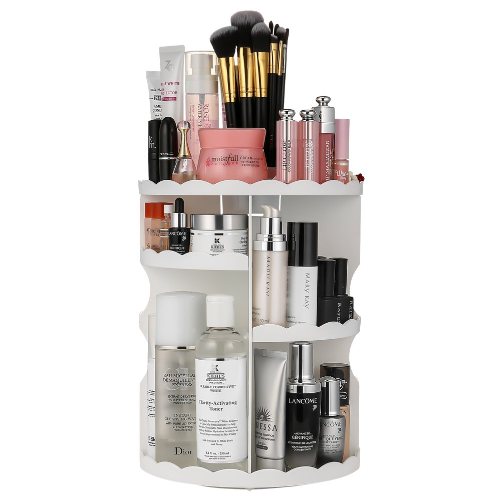 Jerrybox 360-Degree Rotating Makeup Organizer, Adjustable Multi-Function Cosmetic Storage Unit, Compact Size with Large Capacity, Fits Different Types of Cosmetics and Accessories, White by Jerrybox