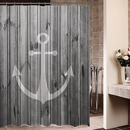 Waterproof-Decorative-Rustic-gray-anchor-shower-curtain-66x-72-Inch