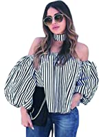 Blooming Jelly Women's Puff Sleeve Off The Shoulder Striped Shirt Tops