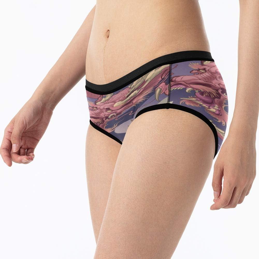 XS-XXXL XOZOTY Custom Funny Womens Brief Blue Fiery Dragon Novelty High-Cut Underwear Panty