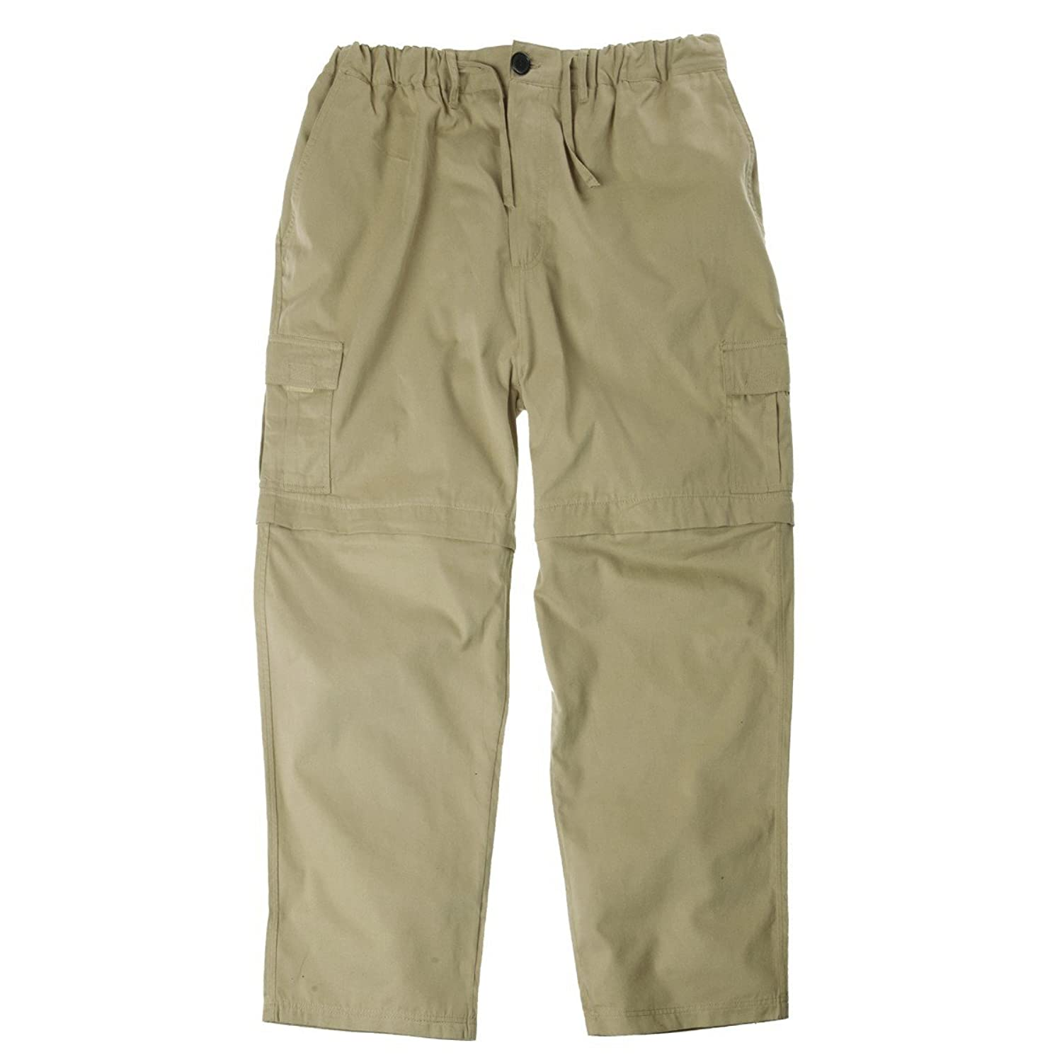XXL zip-off cargo pants with elastic waistband sand
