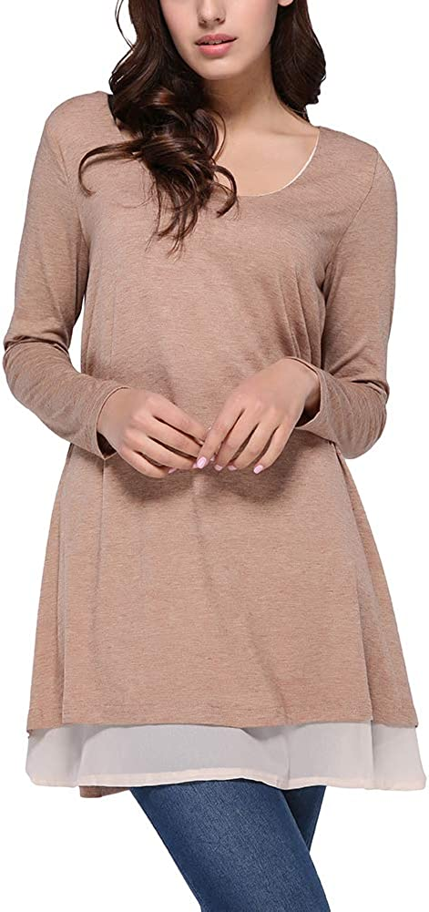 FeelinGirl Pull Femme Casual Manches Longues T-Shirt Hiver Chaud Pullover Col Rond Sweater Top Blouse en Dentelle avec Poches S-XL