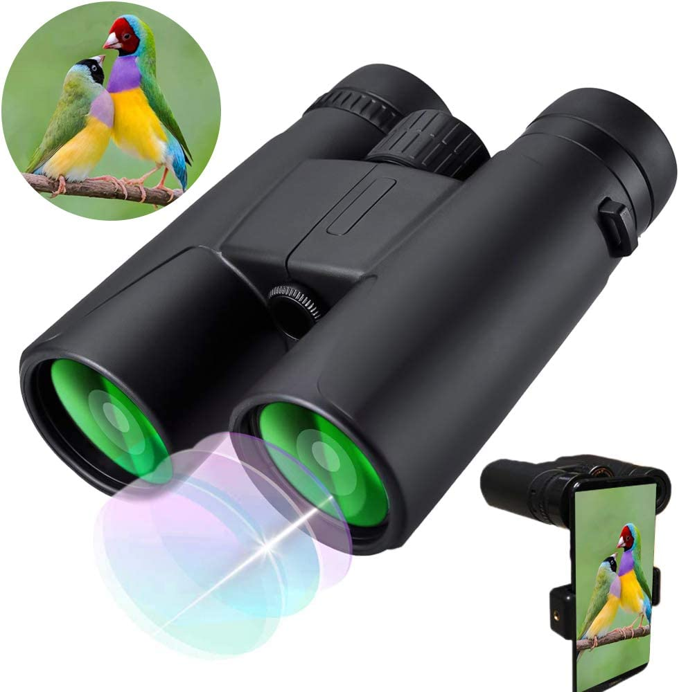 Binoculars for Adults Compact,10X42 HD Compact Binoculars for Adults Birds Watching Hunting Traveling Concerts with Low Night Vision- with Smartphone Adapter Carry Bag