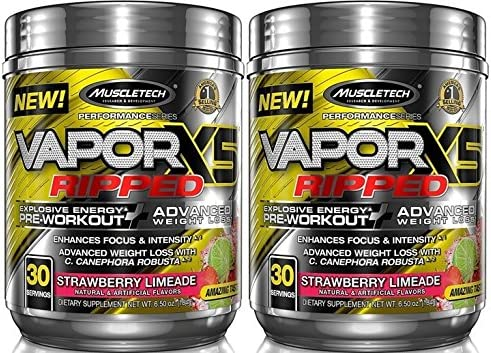 MuscleTech VaporX5 Ripped Explosive Energy Preworkout 60 Servings 2×30 Serv Strawberry Limeade