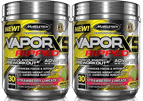 MuscleTech VaporX5 Ripped Explosive Energy Preworkout 60 Servings (2×30 Serv) Strawberry Limeade Review