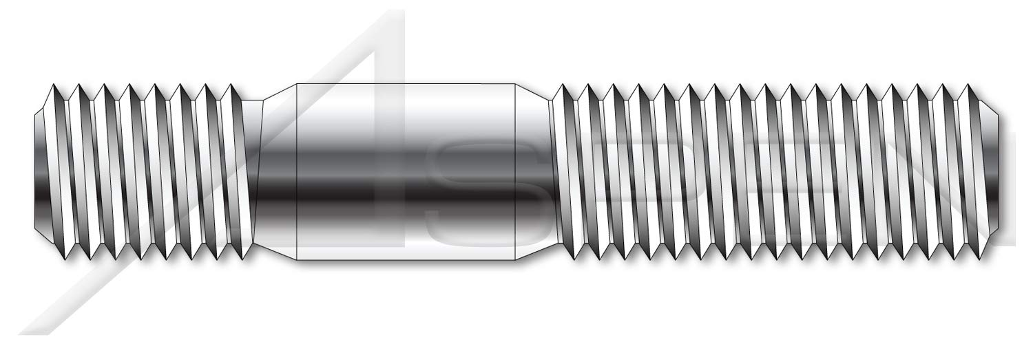 (10 pcs) M12-1.75 X 25mm, DIN 938, Metric, Double-Ended Stud with Plain Center, Screw-in End 1.0 X Diameter, A2 Stainless Steel by ASPEN FASTENERS