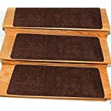 """Ottomanson Comfort Collection Soft Solid (Non-Slip) Shag Carpet Stair Treads, 14 Pack, 9"""" x 26', Brown"""
