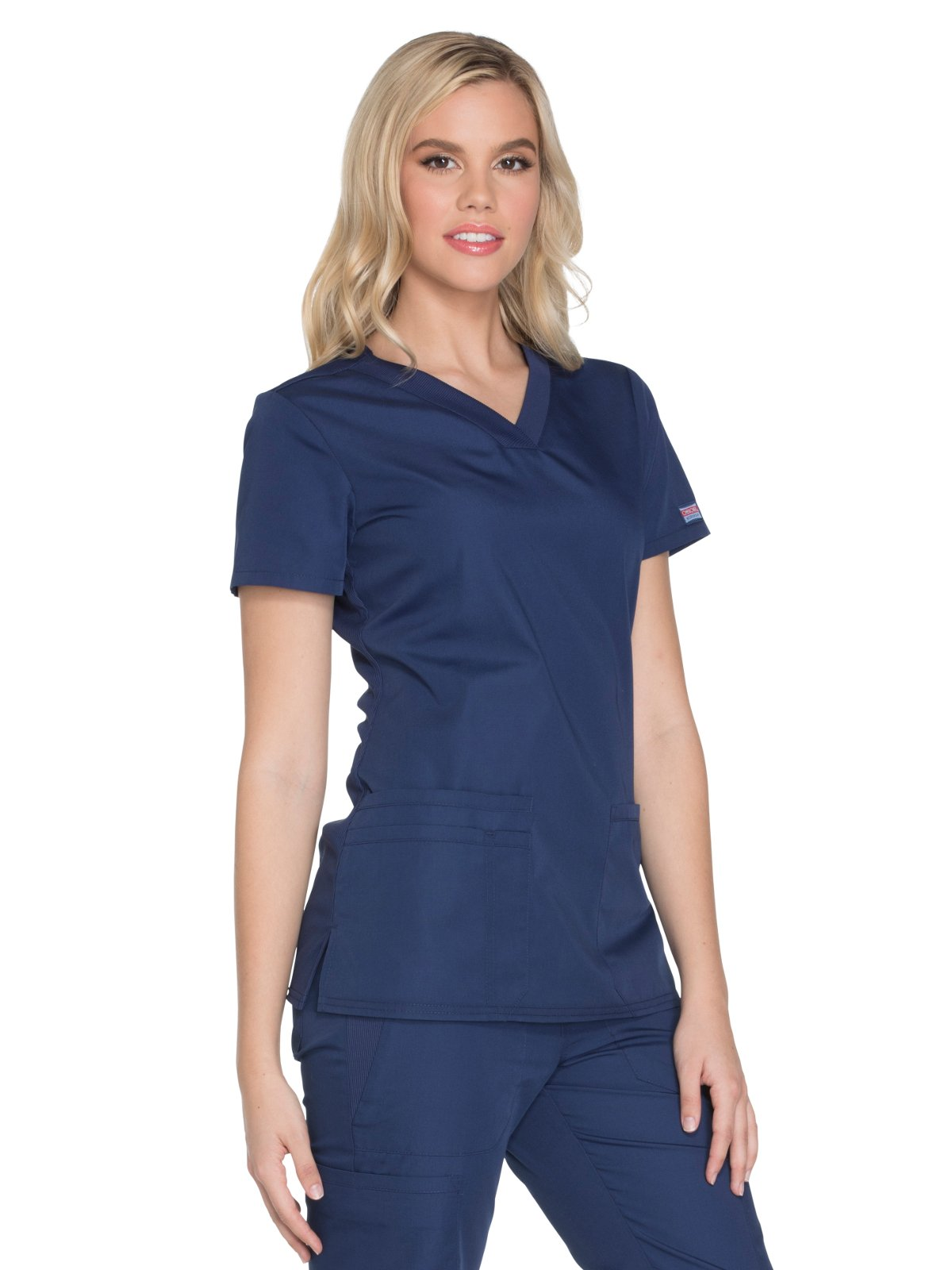 Cherokee Workwear Originals Women's Knit V-Neck Solid Scrub Top Small Navy