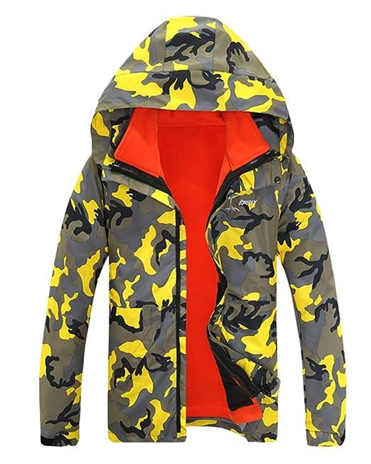 Qitun Hombre Mujer Camuflaje Desmontable Rompevientos Esquí Impermeable Chaqueta de Abrigo al Aire Libre: Amazon.es: Ropa y accesorios
