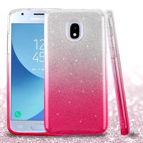 quality design d0a8a 0d33f Wydan Case for Samsung Galaxy J3 2018, J3 Star, J3 Achieve, Express Prime  3, J337 - Glitter Bling Shockproof Slim TPU Phone Case Cover - Silver Pink