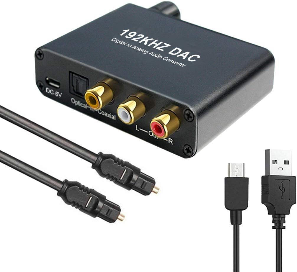 Convertidor DAC de 192 kHz con Control de Volumen Toslink coaxial óptico Digital a estéreo analógico L/R RCA Jack de 3,5 mm Audio Compatible con Dolby AC-3 / DTS 5.1 CH para