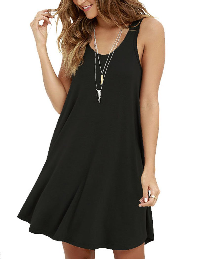 MOLERANI Women's Casual Swing Simple T-shirt Loose Dress, Medium,  Black