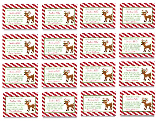 Reindeer Food Gift Tags - Kid's Christmas Party Supplies - Set of 16 Folded Bag Labels ()