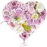 フラワーソープ ソープフラワー バラ型 ハードフラワー形 造花 誕生日 母の日 結婚祝い 枯れない ハート型ボックス 温泉 プレゼント用