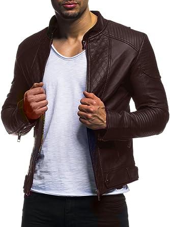 LEIF NELSON pour des Hommes Veste Similicuir Biker Geteppt Slim Fit Modern  Loisir Schwarz LN516  Amazon.fr  Vêtements et accessoires e75548ddc3b