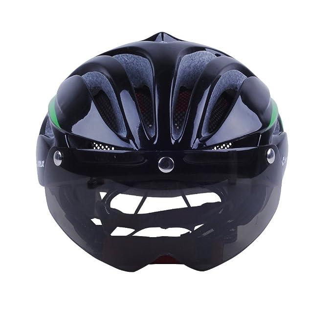 Casque cycliste professionnel avec lunettes de protection (magnétique)  (vert)  Amazon.fr  Sports et Loisirs dbf96ccc8aa9