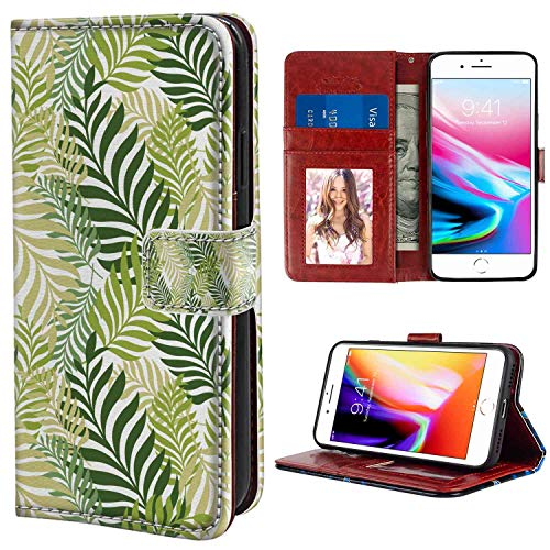 Wallet Case Compatible iPhone 8 Plus & 7 Plus (5.5in) with ID Slot Case (Leaf Tropic Exotic Palm Tree Leaves Natural Botanical Spring Summer Contemporary Graphic Green Ecru) ()