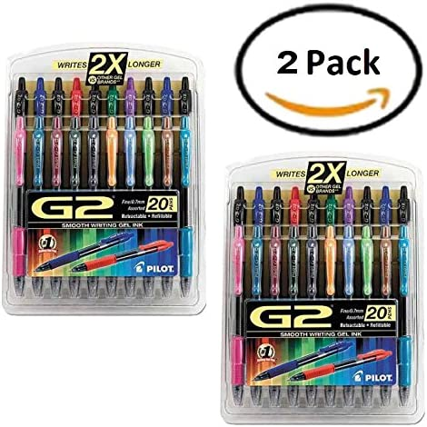 Pack de 2 – Pilot G2 retráctil bolígrafo de tinta de gel, 0,7 mm ...