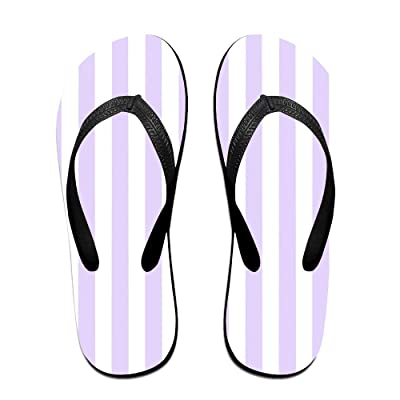 Double Happiness Summer Unisex Pastel Purple And White Stripes Classical Comfortable Flat Beach Flip-Flop