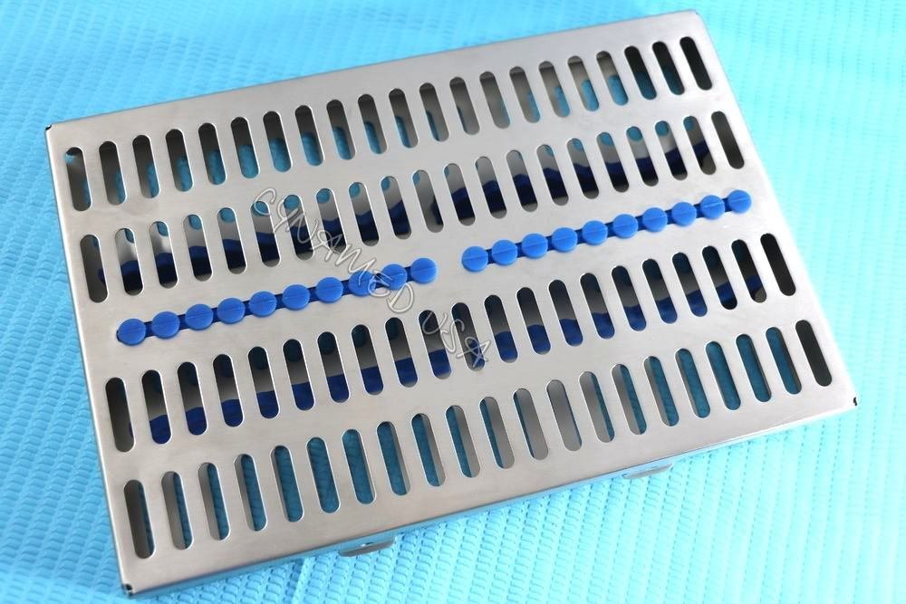 5 Heavy Duty German Dental Autoclave Sterilization Cassette Rack Box Tray for 20 Instrument Blue CYNAMED by CYNAMED (Image #8)