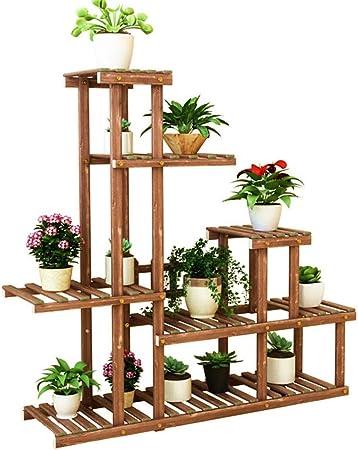 Estilo simple Soporte de plantas de madera Macetas de plantas de múltiples capas Estante de exhibición Rack Estante Para Jardín Patio Esquina Interior Decoración exterior al aire libre estante de flor: Amazon.es:
