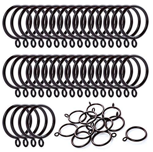 ANJUU 36 Pack 38mm Inner Diameter Metal Curtain Drape Sliding Eyelet Rings Cocoa - Rings Curtain Round