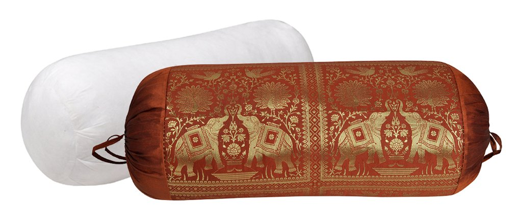 Decorative Silk Bolster Pillow With Designer Cover For Yoga 30 X 15 Inches