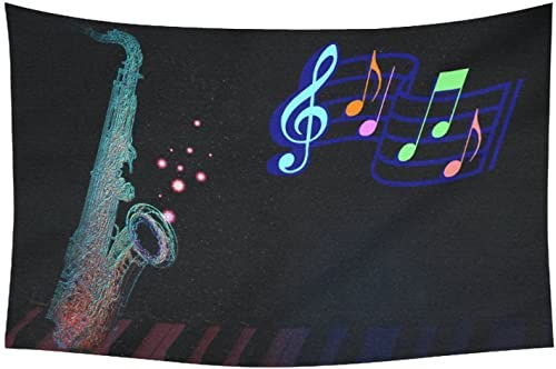 InterestPrint AnnHomeArt Wall Tapestry Hanging Saxophone Tapestry Picnic Beach Sheet Table Cloth 60 x 40