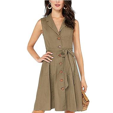 Mingning Office Ladies Workwear Shift Dress Sleeveless Knee Length Belted  Women Summer Elegant Midi Dress Army 8e3e7b9e8