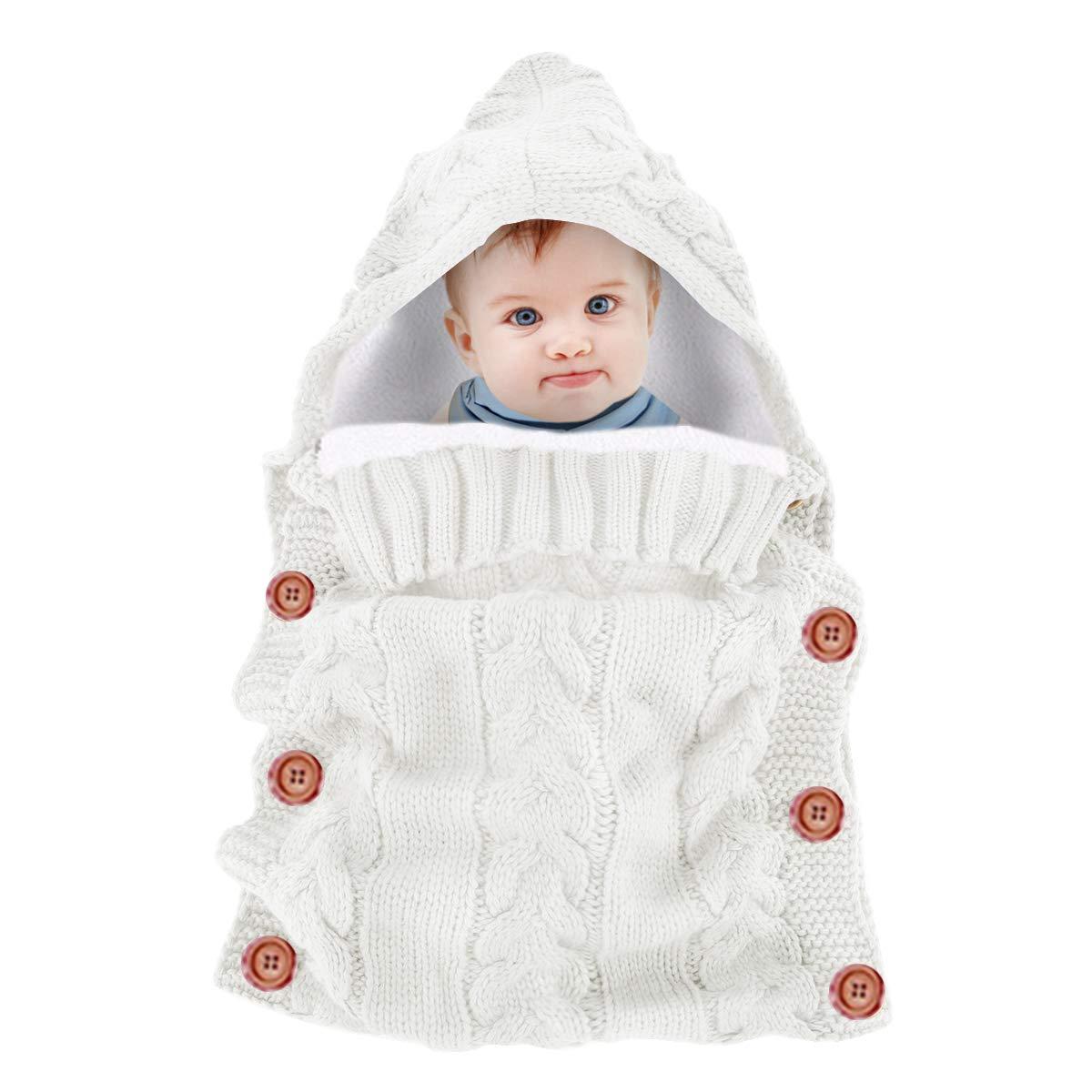 forro polar, tejido de ganchillo, con capucha, para beb/és de 0 a 12 meses Yinuoday Saco de dormir para beb/é Without Fleece Grey Talla:30X14