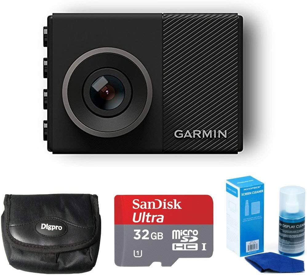 Garmin Dash Cam 45 Bundle with 32GB microSDHC Memory Card, Universal Screen Cleaning, and Ultra-Compact Carrying Case (Renewed)