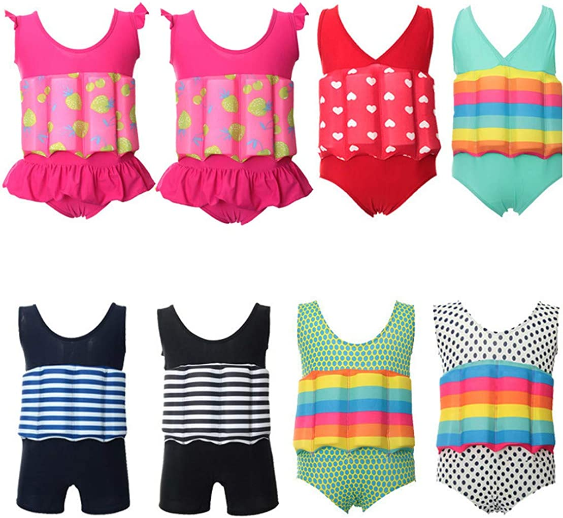 Pink, 6-18 Months Tensay Baby Swimsuit Kids Float Print Suit with Adjustable Buoyancy Conjoined Romper Beach Clothes