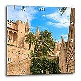 3dRose Danita Delimont - Cities - Spain, Balearic Islands, Mallorca, Palma de Mallorca, stone towers - 10x10 Wall Clock (dpp_277905_1)