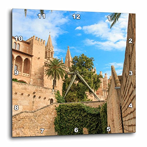 3dRose Danita Delimont - Cities - Spain, Balearic Islands, Mallorca, Palma de Mallorca, stone towers - 10x10 Wall Clock (dpp_277905_1) by 3dRose