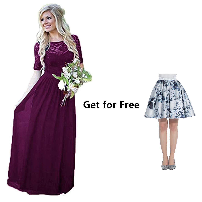 Ruiyuhong Lace Chiffon Country Bridesmaid Dress Long Wedding Party Gown Lh457