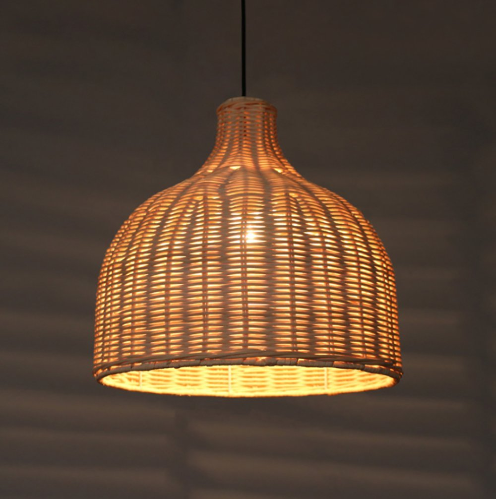 Siminda Southeast Asia Tropical Bamboo Chandelier DIY Wicker Rattan Lamp Shades Weave Hanging Light 25.5 Inch